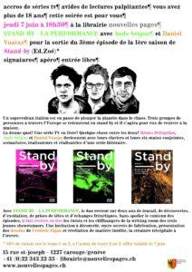 """Flyer pour la soirée """"Stand-by"""" à la librairie Nouvelles pages à Carouge"""